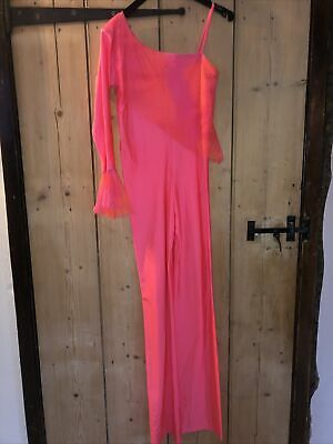 £9.99 • Buy Neon Pink/ Coral Girls Dance Catsuit Aged 13-15