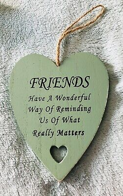 £0.99 • Buy Hanging Friendship Heart Shabby Chic Distressed Green