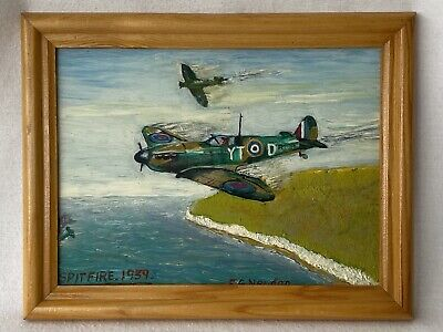 £19.99 • Buy Original WWII Spitfire Painting 1939 - Signed F G Or E G Newton