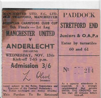 £19.99 • Buy Ticket Manchester United V Anderlecht-european Cup Cup 13/11/1968