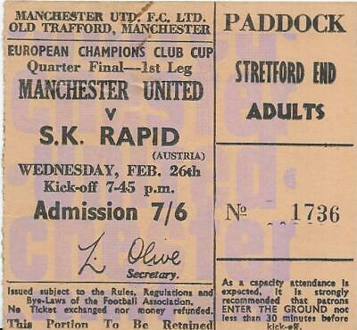 £19.99 • Buy Ticket Manchester United V Sk Rapid-european Cup Cup 26/2/1969