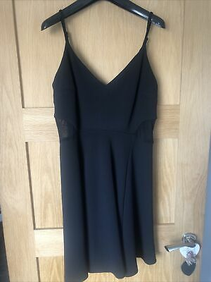 £1.99 • Buy NEW LOOK Classic Black Sheer Mesh Side Skater Fit & Flare Party Dress SIZE 14