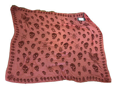 AU137.91 • Buy Alexander McQueen Skull Scarf Creature Of Paradise Pink Rose Red Brand New