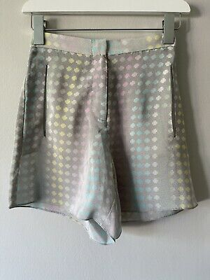 £8 • Buy Topshop Boutique Grey With Colourful Print Silk Shorts Size UK 6