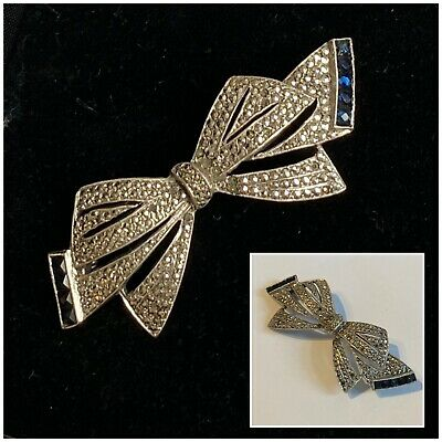 £10.50 • Buy Vintage Jewellery Sterling Silver 925 Marcasite Blue Stone Bow Brooch Pin (AF)