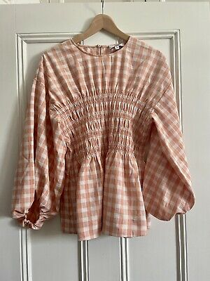 AU45 • Buy Witchery Apricot Check Top Sz 14 As New