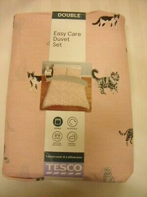 £14.99 • Buy Tesco DOUBLE Duvet Set POLYCOTTON Pink With Cats