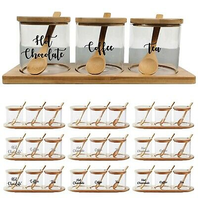 £13.99 • Buy 3 X Glass Canister Jar Personalised Sugar Spice Jar With Bamboo Lid & Spoon 0.35