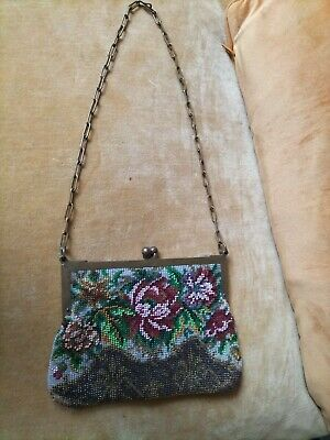 £19.60 • Buy Antique Micro Beaded Floral Purse With Yellow Metal Frame & Chain Strap