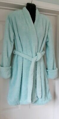 AU11.02 • Buy Mint Green Fluffy Dressing Gown Robe Size 8/10 Soft Cosy Knee Length Pockets