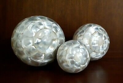 £16 • Buy 3 X Decorative Polished Mother Of Pearl Interior Home Decor Spheres Balls