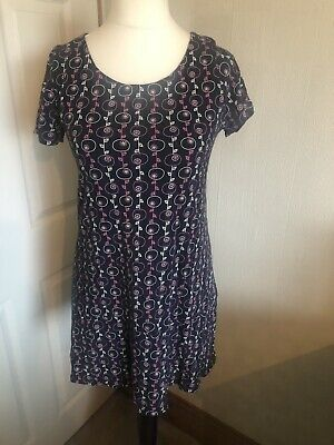 £4 • Buy Mistral Tunic Top Navy With Pink & White Pattern Short Sleeve Size 14