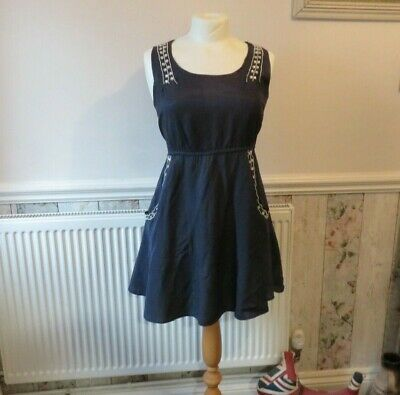 £10 • Buy Pussycat London Navy Blue With Silver Beaded Detail Size L