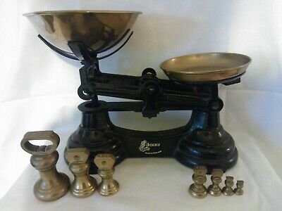 £47.99 • Buy Vintage Black Cast Iron Librasco Kitchen Scales With 7 Brass Bell Weights