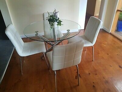 AU200 • Buy Stylish Glass Dining Set With 4 Chairs - White