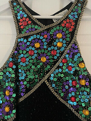 £20 • Buy Vintage AFTER SIX By RONALD JOYCE Black Beaded Party Cocktail Dress UK 8 VGC