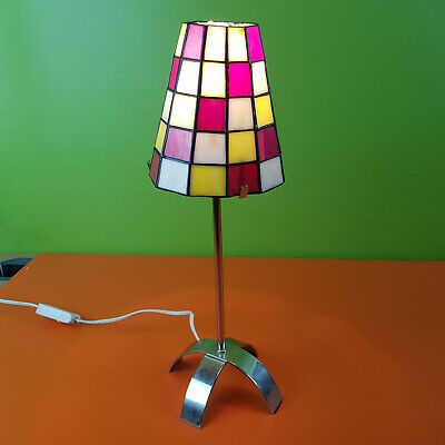 £15.99 • Buy Tiffany Style Table Bedside Lamp Metal Stem Glass Light Shade Square Pattern