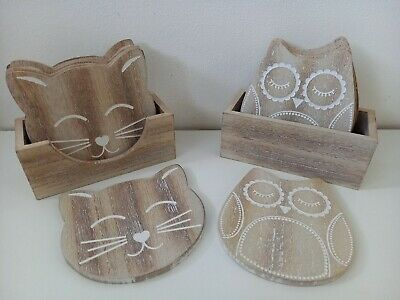 £12 • Buy NEW Sass & Belle Wooden 6 Coasters With Storage Sets - 2 Designs - Owl & Cat