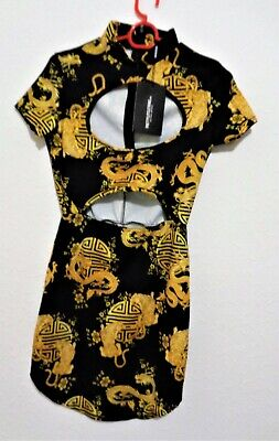 £9.99 • Buy Size 8 Black PRETTYLITTLETHING Oriental Print Cut Out Body Con Knee Length Dress