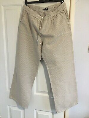 £6.80 • Buy  Wide Leg Linen Striped Womens Trousers Size 16 By Marks And Spencer