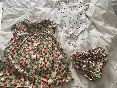 £1.20 • Buy Boden Strawberry Button Up Dress With Vest And Bloomers 6-9 Months