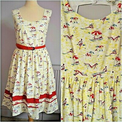 AU9.18 • Buy Yumi Retro Kitsch 50s Style Vintage Beach Print Fit Flare Belted Dress Size 12