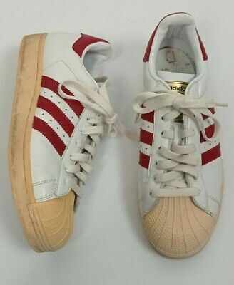 AU18.18 • Buy Men's Adidas SUPERSTAR Trainers ~ Size UK 8.5 ~ White & Red ~  8 1/2 ~ Shell Toe
