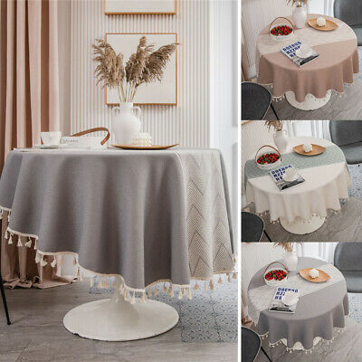 AU40.55 • Buy Tassel Rouns Tablecloth Cotton Dining Table Cloth Cover Kitchen Party Home Decor