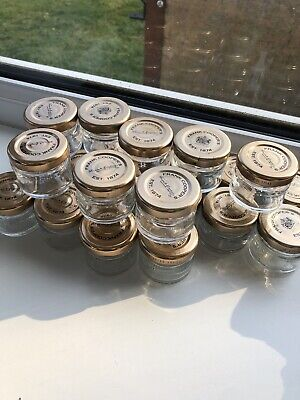 £5 • Buy 24x Small Empty 1 Oz Mini Glass Jars Complete With Golden Lids -