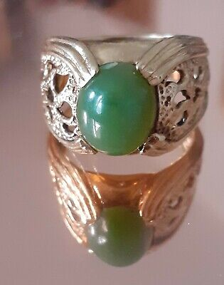 £12 • Buy Gold 18ct Platedstatement Mans Ring With Jade Green Stone