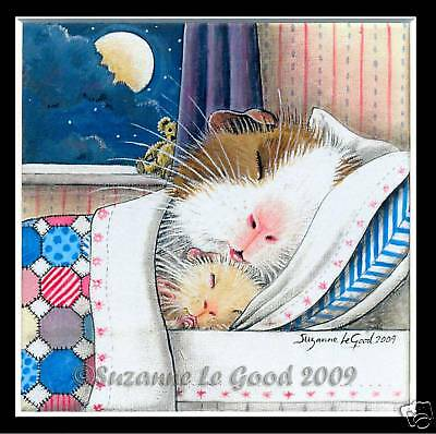 Guinea Pig Art Print Moon Mounted Dutch From Original Painting Suzanne Le Good • 13£