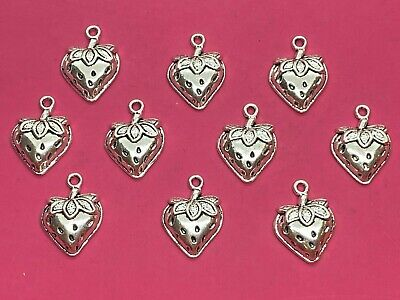 £1.25 • Buy Tibetan Silver Strawberry Charms - 10 Per Pack - Fruit