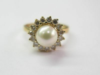 $385 • Buy Fine Design Mabe Pearl And Diamond Ring YG 14KT