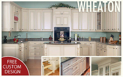 $2200 • Buy All Solid Maple Wood KITCHEN CABINETS 10x10 RTA Wheaton Cream Painted Maple