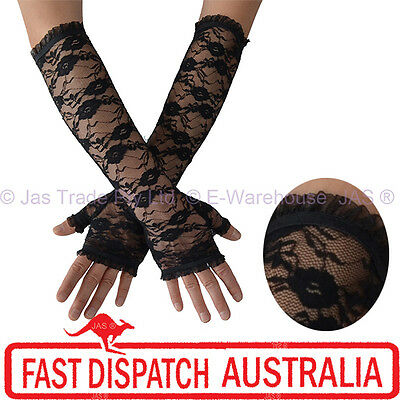 AU11.95 • Buy Fingerless Long Sleeve Party Gloves Goth Gothic Punk Floral Lace Stretchy Cuff