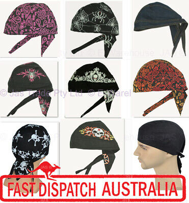 AU7.50 • Buy Fitted Bandana Cotton Dorag Chef Du-rag Durag Biker Helmet Liner Hat Headwrap