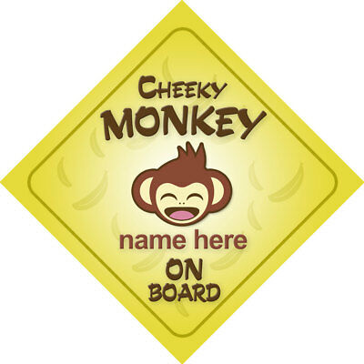 £3.53 • Buy Cheeky Monkey On Board Personalized Child Car Sign/Baby Shower Gift Boy/Girl