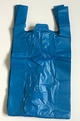 100 Strong Plastic-Vest Carrier Bags XX Large JUMBO Blue 12'' X 18'' X 22'' • 4.50£
