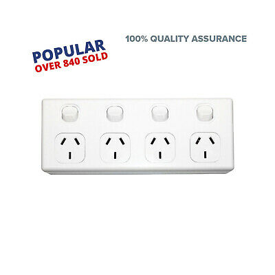 AU24.83 • Buy 4 Gang GPO Power Point Quad Socket Outlet