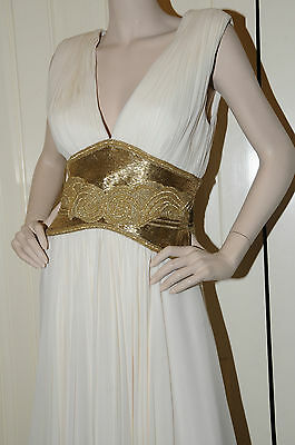 $2799.99 • Buy $6000!!! NEW Marchesa Couture Milky WHITE  Gold  Jeweled GOWN DRESS 10 Wedding