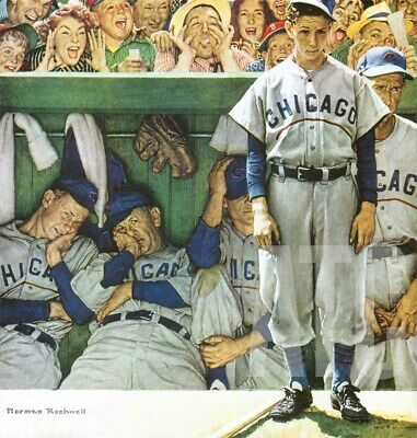 $ CDN298.36 • Buy 34W X36H  THE DUGOUT By NORMAN ROCKWELL VINTAGE CHICAGO CUBS MLB BASEBALL CANVAS