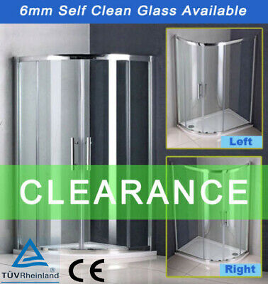 Offset Quadrant Shower Enclosure Walk In Corner Cubicle Glass Screen Door & Tray • 214.99£