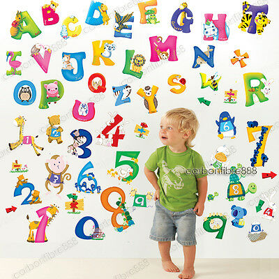 Large Animal Letter ALPHABETS+NUMBERS Nursery Wall Stickers Kid Early Learning • 7.84£
