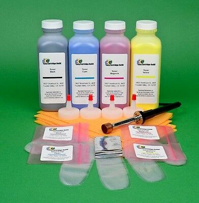 £57.41 • Buy HP CP4525 CP 4525 CP4525dn Four Color Toner Refill With Hole Making Tool & Chips