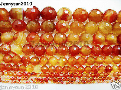 $ CDN3.21 • Buy Natural Carnelian Gemstone Faceted Round Beads 15.5'' 3mm 4mm 6mm 8mm 10mm 12mm