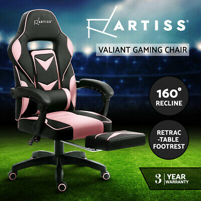 AU139.95 • Buy Artiss Gaming Chair Office Computer Chair Recliner Work Seat Black Pink
