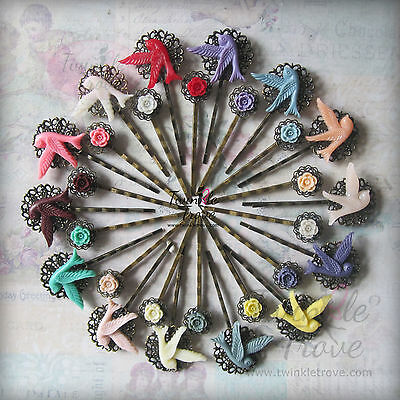 £1.99 • Buy Vintage Flying Bird Swallow Bobby Kirby Pin Clips Grips Slides. Antique Bronze.