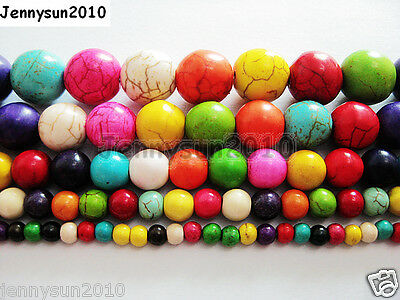 $ CDN2.43 • Buy Mix Colored Howlite Turquoise Gemstone Round Beads 16'' 4mm 6mm 8mm 10mm 12mm