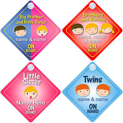 £2.99 • Buy Brother & Sister On Board Car Signs Child/Baby - Choice Of 18 Different Designs