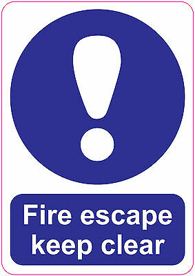 FIRE ESCAPE KEEP CLEAR LARGE Sign Stickers Safety Warning 148x210mm  • 2.24£